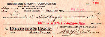 Charles Lindbergh's last pay check as an RAC A...